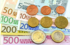 Euro notes and coins. One cent  to five hundred Royalty Free Stock Images