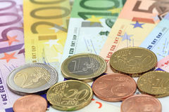 Euro notes and coins. Royalty Free Stock Photo