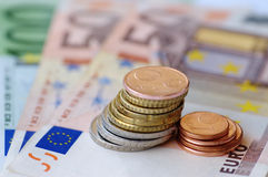 Euro notes and coins. Euro bank notes and coins Stock Images