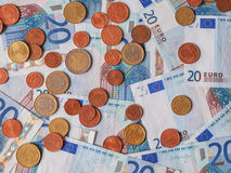 Euro notes and coins Stock Image
