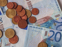 Euro notes and coins Royalty Free Stock Image