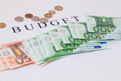 Euro notes and coins.  Budget Concept. Euro banknotes and coins, Budget money Concept Royalty Free Stock Images