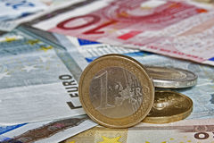 Close-up of Euro paper currency and coins Royalty Free Stock Images