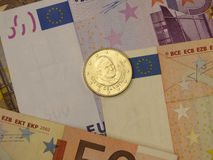 Euro notes and coins Royalty Free Stock Photos