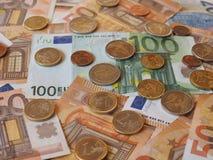 Euro notes and coins, European Union. Euro banknotes and coins (EUR), currency of European Union Stock Photo