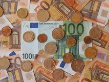 Euro notes and coins, European Union. Euro banknotes and coins (EUR), currency of European Union Stock Image