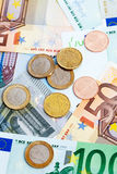 Euro notes and coins Royalty Free Stock Photography