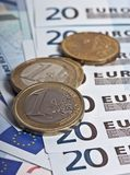 EURO notes and coins. Royalty Free Stock Photography