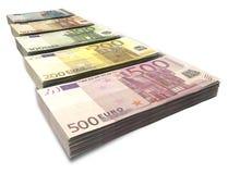 Euro Notes Collection Perspective Stock Photos
