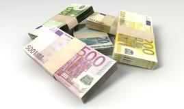 Euro Notes Collection Pile Close Stock Photos