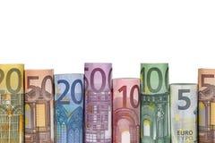 Euro notes dans une rangée Images stock