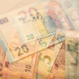 Euro notes de papier Cinq, vingt et dix euros Photos libres de droits