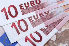 Euros : Euro 10 banknotes or bills close up Stock Images