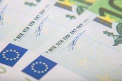 100 euro notes detail. Detail shot of various 100 euro notes Stock Photo