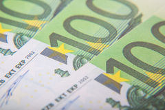 100 Euro notes detail Royalty Free Stock Photo