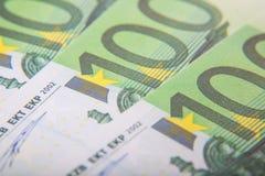 100 Euro notes detail. Three 100 Euro notes. Detail shot Royalty Free Stock Photo