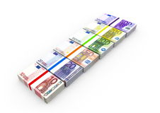 Euro notes. With different value Royalty Free Stock Photography