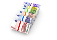 Euro notes. With different value vector illustration