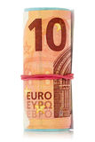 Euro notes with an elastic band wrapped around Royalty Free Stock Photo