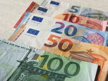 Euro notes, European Union. Euro banknotes money (EUR), currency of European Union, full range including five, ten, twenty, fifty and one hundred euros Stock Photography