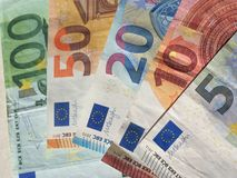 Euro notes, European Union. Euro banknotes money (EUR), currency of European Union, full range including five, ten, twenty, fifty and one hundred euros Royalty Free Stock Images