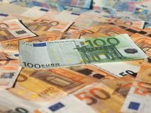 Euro notes, European Union. Fifty and One Hundred Euro banknotes money (EUR), currency of European Union Stock Images