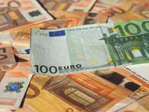 Euro notes, European Union. Fifty and One Hundred Euro banknotes money (EUR), currency of European Union Royalty Free Stock Image