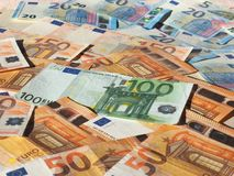 Euro notes, European Union. Fifty and One Hundred Euro banknotes money EUR, currency of European Union Royalty Free Stock Image