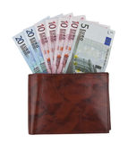 Euro notes fanned in a wallet Royalty Free Stock Photography