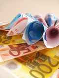 Euro notes - flower Royalty Free Stock Photos