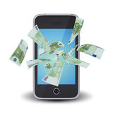 Euro notes flying around the smart phone Stock Photo