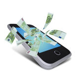 Euro notes flying around the smart phone Stock Photos