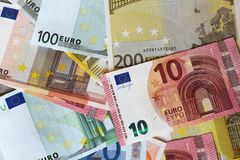 Euro notes formant le fond Photos libres de droits