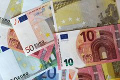 Euro notes formant le fond Images libres de droits