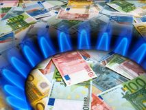 EURO notes and gas burner Stock Photography