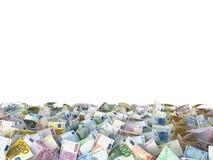 Euro notes at the ground, white background Royalty Free Stock Photos