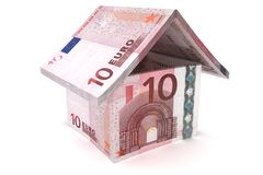 Euro Notes House Symbol. 10 Euro House Sign - 3d illustration royalty free illustration