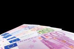 Euro notes isolated on black background Royalty Free Stock Photo