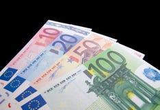 Euro notes isolated on black background Royalty Free Stock Image