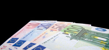 Euro notes isolated on black background Stock Image