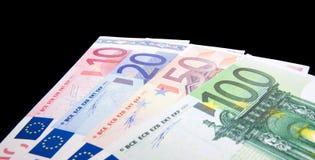 Euro notes isolated on black background Stock Photography