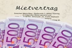 Euro notes and lease. Many Euro notes and lease. Fees for the completion Royalty Free Stock Photography