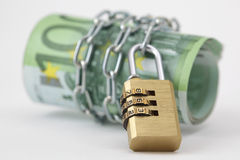 Euro notes with lock and chain. On white background Royalty Free Stock Photography