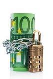 Euro notes with lock and chain. On white background Stock Image