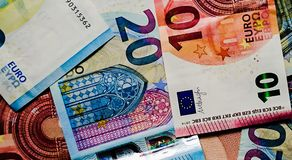 Euro notes money closeup finance stock exchanges royalty free stock photo