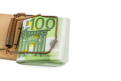 Euro notes in mousetrap. Many euro bank notes in mousetrap. symbolic photo for debt and debt with credit Royalty Free Stock Images