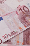 Euro notes in a pile. With differential focus on the word Euro Royalty Free Stock Image