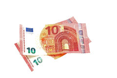 Euro notes on a plain white background. Royalty Free Stock Image
