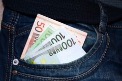 Euro notes in the pocket Royalty Free Stock Photos