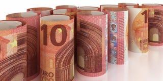 10 Euro Notes Rolls. 10 Euro Note Rolls - 3d illustration vector illustration